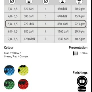 Korda's - cordes auxiliaires approuvées, en couleurs vives pour une utilisation diversifiée.