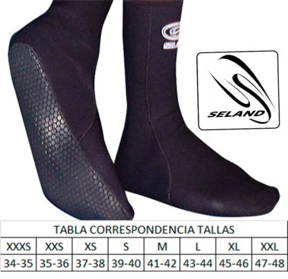 Seland ABB - ABBT - ABBS neoprene socks with PU print size table