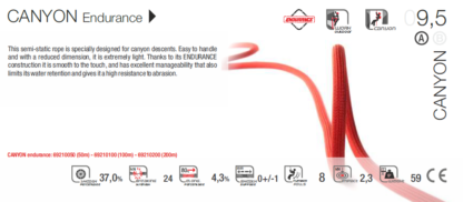 Corde statique Fixe CANYON ENDURANCE 9.5 mm, Rouge