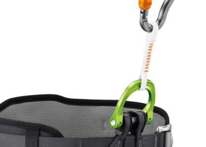 The cutaway sling for the CANYON GUIDE harness allows a person to be quickly freed from a blockage, without damaging the harness or the rope. It attaches directly to the harness's gated attachment point, limiting bulk.